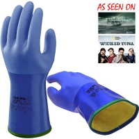 Showa rubber handschoen gevoerd blauw (Maat: M)